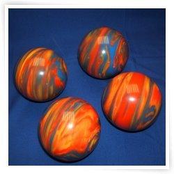 BuyBocceBalls Premium Quality EPCO 4 Ball 107mm Tournament Bocce Set - Marbled Orange/Blue/...