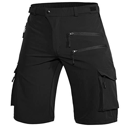 Wespornow Herren MTB Kurz Hose, Outdoor Sport Bike Shorts Fahrradhose für Herren (Schwarz, L)