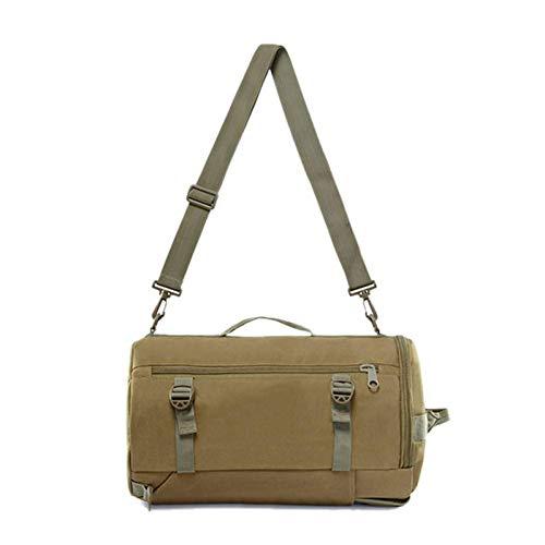 BBGSFDC Multifunctional Climbing Bag Round Bucket Men Women Travel Male Oxford Shoulder Bag Suitcase Luggage Outdoor Sport (Color : Khaiki)
