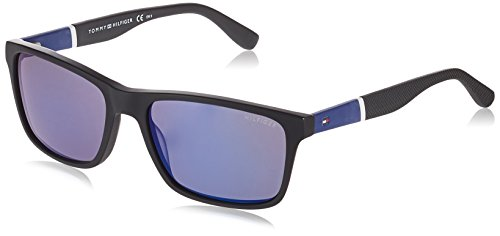 Tommy Hilfiger Men's TH1405/S Rectangular Sunglasses, Black & White & Grey, 56 mm