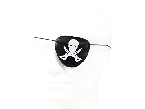 Bandeau de pirate noire muni d'une sangle élastique Convient pour les adultes ou les enfants Pour parfaire la tenue des pirates Parfait pour les fêtes,les costumes d'Halloween ou pirates Accessoire de déguisement de qualité supérieure