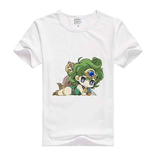 GRHOSE Dragon Quest IV Shirt Heroine Shirt Fashion Tees Short Sleeve Modal Shirt Anime Shirts Summer Anime T-Shirt Athletic Shirt Modal Tee Shirt Top (White,XL)