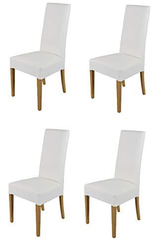 Tommychairs - 4er Set Moderne Stühle Luisa für Küche und Esszimmer, robuste Struktur aus lackiertem Buchenholz Farbe Eiche, Gepolstert und mit Kunstleder in der Farbe Weiss bezogen