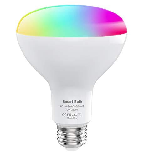 MoKo Smart WLAN Led Lampe, BR30 E27 9W Dimmbar Glühbirne Mehrfarbige Licht, Wifi Birne mit APP Fernbedienung Sprachsteuerung, Kompatibel mit Alexa Echo Google Home SmartThings, ohne Hub Benötig