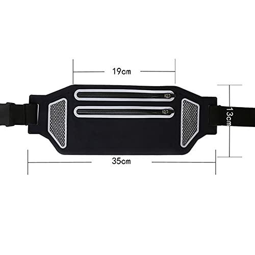 Bolsa de cinturón ligera para deportes al aire libre con doble cierre de cremallera impermeable invisible bolsillos para correr yoga