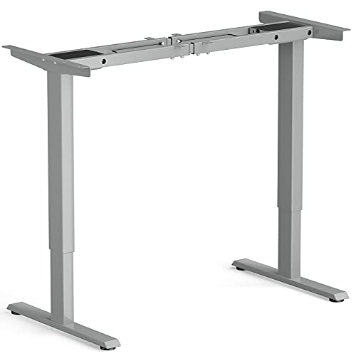 Tangkula Dual-Motor Electric Standing Desk Frame, Width & Height Adjustable Stand up Desk Base, Ergonomic Sit Stand Workstation with Memory Controller, Cable Tray for Home Office (Grey)
