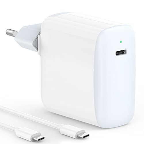 IFEART Cargador USB C Compatible con MacBook Air, MacBook 12 Pulgadas, iPad Pro 12.9/11 2021/2020/ 2018, iPad Air 4, Samsung S21 S20, Google Pixel, Switch, 45W Cargador Rápido, Cable USB C a C de 2M