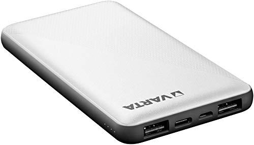 VARTA Power bank Energy 10000mmAh, include cavo di ricarica (1x ingresso micro USB, 2x uscita USB A, 1x attacco bidirezionale USB tipo C, ricarica veloce)
