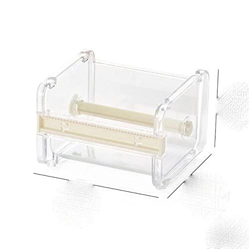 Cajas de cinta transparente Diseño de gran capacidad Cortador de cinta Washi Caja de almacenamiento de escritorio Dispensador de cinta Herramienta de cinta Papelería de oficina-Beige