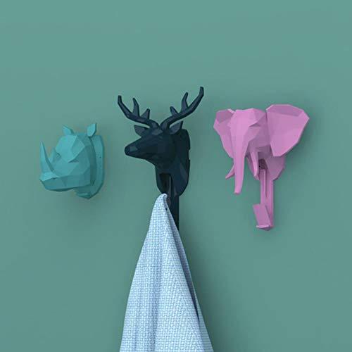 Adminitto88 3pcs Ganchos para Cabeza De Animal, Innovador Ciervo Decorativo Cabeza Gancho Capa, Dibujos Animados Forma Simple Sala De Estar, Almacenamiento Estante Animal Decoración Pared Gancho