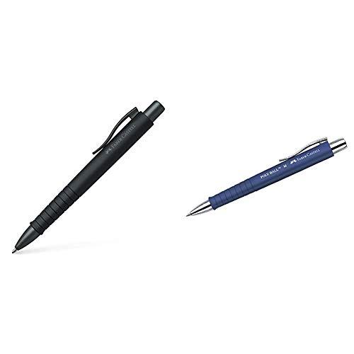 Faber-Castell 241190 Kugelschreiber, POLY BALL XB, schwarz (Schreibfarbe blau) & Kugelschreiber POLY BALL/241151 blau