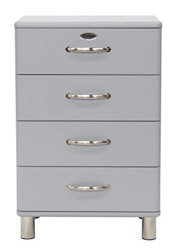 Tenzo Malibu Designer Commode 4 tiroirs, Panneaux de Particules & MDF, Gris Aluminium, 60 x 41 x 92 cm