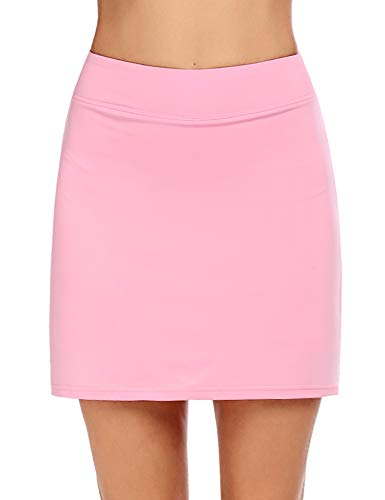 Ekouaer Skorts for Women Plus Size Longer Length Golf Apparel Two Layer Skirts with Stretchy Shorts Pink