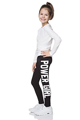 """hi!mom - Mädchen Leggings mit Schriftzug """"Power Girl"""" - lang - aus Baumwolle - 1-13 Jahre - CHPWG - Schwarz - 9-10 Jahre"""