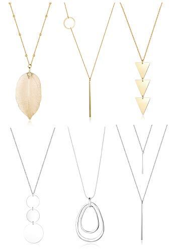 FUNRUN JEWELRY 6PCS Long Pendant Necklace Set Bar Circle Leaf Y Necklace Arrow Statement Necklace for Women (A: Silver tone+Gold tone)