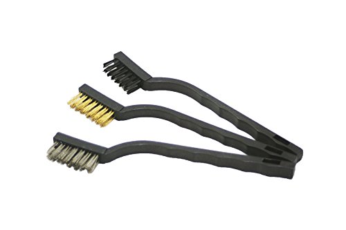 ABN 7in Mini Wire Detail Brush 3pc Set – Nylon, Brass, Stainless Steel – Metal Detail Brushes for Cleaning & Automotive