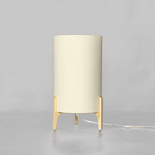 Lámpara de mesa tela madera crudo Iluminación Salón Dormitorio