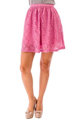 ÇA VA BIEN FASHION Mujers Falda Lápiz Encaje Midi Falda Tul Mujer Rosa, Faldas Largas Mujer Tamaño ES 40 (Large) Rosa (Pink)