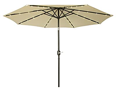 Trademark Innovations Deluxe Solar Powered LED Lighted Patio Umbrellas, 9', Beige