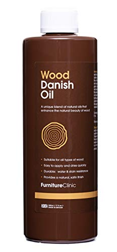 Furniture Clinic Danish Oil (500ml)   Care for Interior & Exterior Wooden Furniture - Oak, Pine, Kitchen, Dining Room Furniture - Protection For Staining and From Water & Dirt