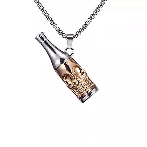BAJIE Collar Mujer, Collar Unisex de aleación Creativa para Botella de Vino, diseño de Moda, Tendencia Hip Hop, Collar con Colgante de Calavera