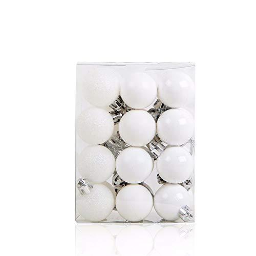 MoGist, 24 palline di Natale opache, glitterate, lucide, per albero di Natale, decorazione albero di Natale, bianco, 9*6*12cm