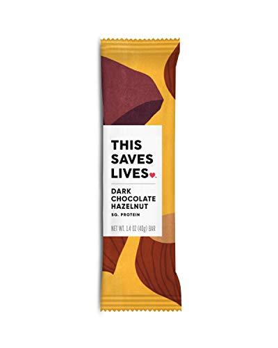 THIS SAVES LIVES Chewy Granola Bars   Gluten Free Snacks Breakfast Bars, Kosher, Non GMO Snack Bar for Adults & Kids   1.4 oz Bars (Dark Chocolate Hazelnut   12 Bars)