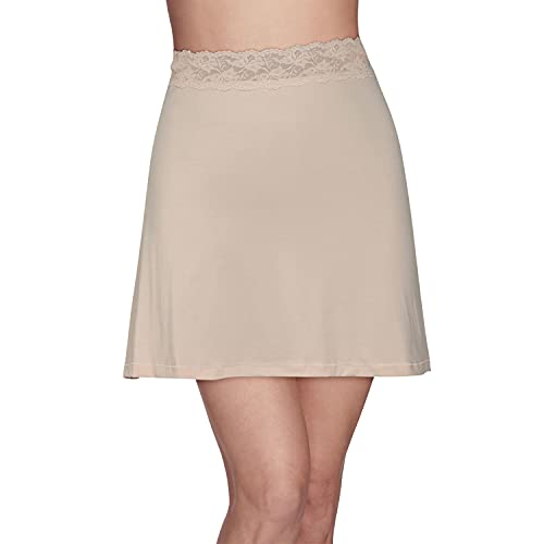 Vanity Fair Women's Half Slip with with Single Side Slit, 16' Length - Lace Waist - Neutral, Small
