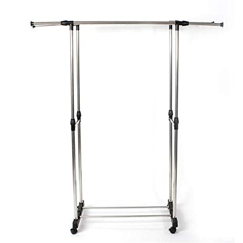 Metal Garment Rack with Wheels Dual Bar Vertically Horizontally-Stretching Clothes Rack with Shoe Rack Sliver