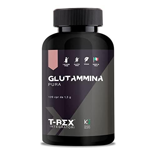 L-Glutammina Pura Kyowa Quality | Stimola aumento GH ormone della crescita | Diminuisce fatica post allenamento | Integratore di Glutamina Amminoacido Made in Italy | 120 compresse T-Rex Integratori