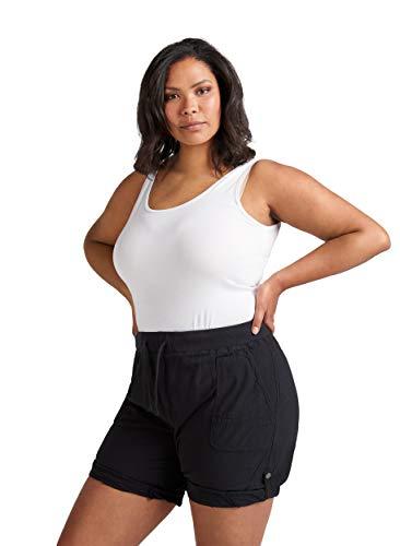 Zizzi Damen Sommer Shorts Loose Fit Kurze Hose Sommerhose , Farbe: Schwarz, Gr. 46-48 (M)
