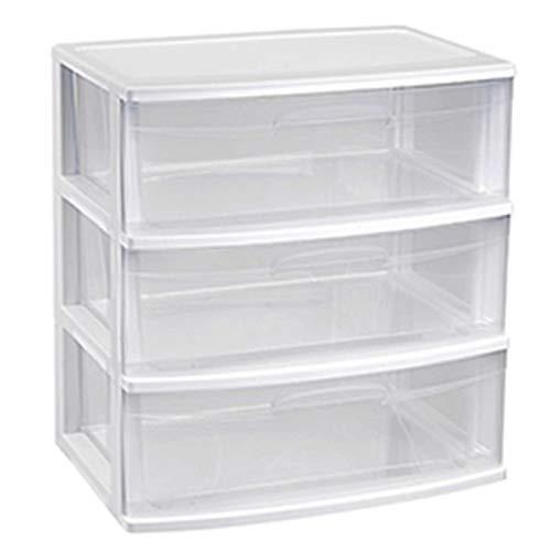 Plástic forte - Cajonera nilo de plástico 3 cajones de color blanco 60 x 56 x 39.5 cm Cajonera es tamaño doble folio grande transparente multiusos Ideal Para empresas, oficinas y hogares, etc.
