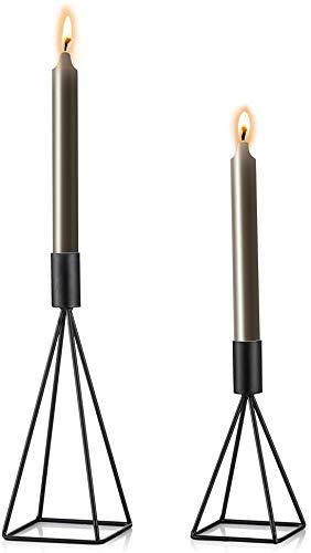 Wuudi Kerzenständer Kerzenhalter Kerzenleuchter 2er Set, Metall Deko Kerzenständer, Kerzen Ständer Tischdeko Hochzeit (schwarz)