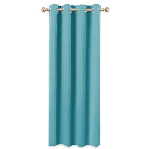 PONY DANCE Cortinas Modernas Habitación - Diseño Simple Tela 100% Poliéster y Decoración para Hogar Dormitorio Oficina, 1 Unidad, 140 x 260 cm, Azul Turquesa
