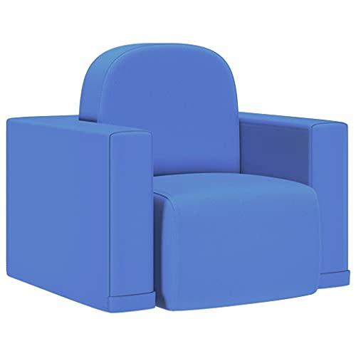 vidaXL Sofá Infantil 2 en 1 Niños Sillón Asiento Silla Salón Sala de Estar Dormitorio Habitación Muebles Mobiliario Cómodo de Cuero Sintético Azul