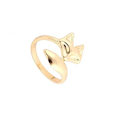 GYKMDF - Anello a forma di volpe, in oro rosa, oro, argento, con testa di volpe, anello con volpe