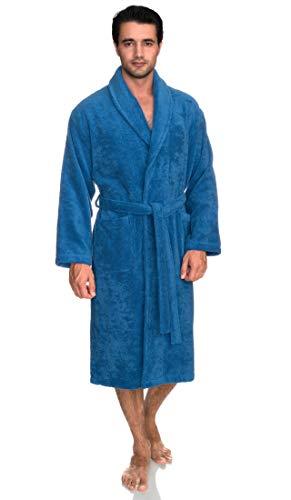 TowelSelections Hombre Albornoz, algodón orgánico Terry Albornoz Hecho en Turquía - Azul -