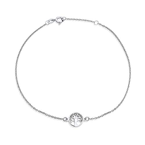 Round Celtic Family Tree Of Life Anklet Ankle Bracelet For Women 925 Sterling Silver Adjustable 9 To 10 Inch