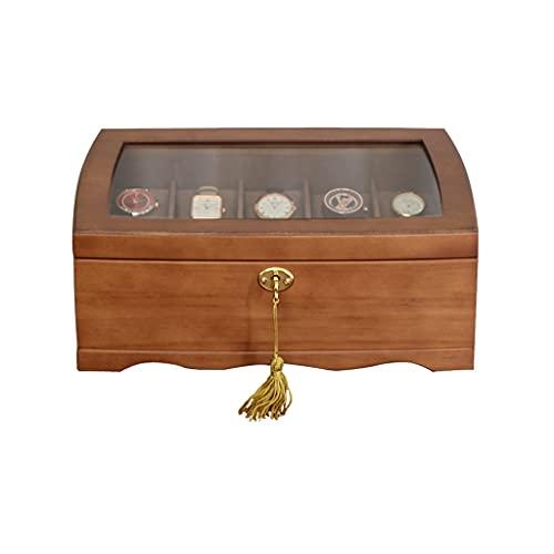 Yousiju Caja de reloj de madera Caja de reloj titular para relojes, organizador de joyas Caja de rejillas Organizador de reloj