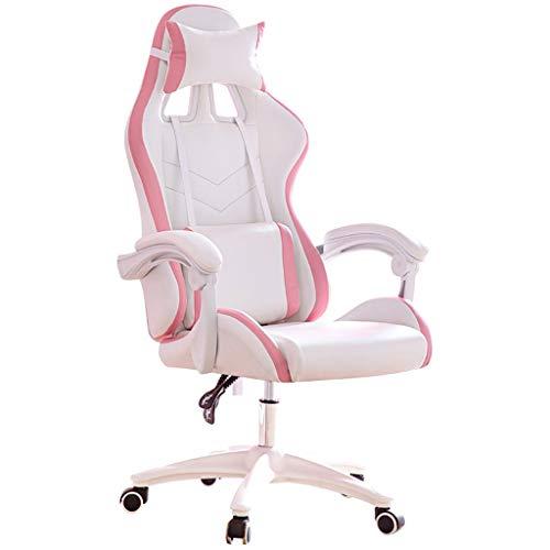 LiKin Silla Gaming Profesional para Niña, Sillas Ergonómica de Escritorio Ajustable Giratoria Silla de Respaldo Alto (Color : White-Pink)