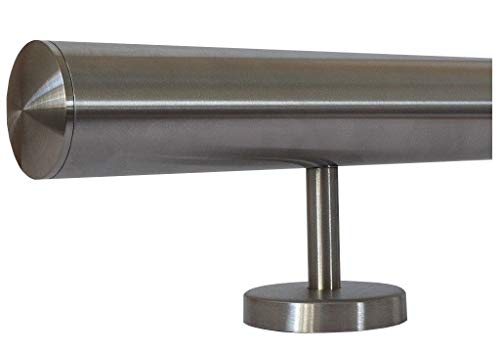 Edelstahlhandlauf Länge 0,3m - 6m aus einem Stück und unterschiedlichen Endstücken zum Auswählen Ø 33,7 mm mit gerade Halter, zum Beispiel: Länge 580 cm mit 6 Halter, Enden mit leicht gewölbte Kappe