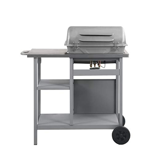 Festnight Gas BBQ Grill Barbecue Grill with 3-layer Side Table Black and Silver