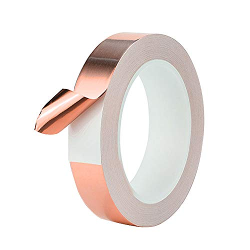 QitinDasen 50M X 20mm Premium Cobre Lámina Cinta, Cinta Cobre Conductora, para Blindaje EMI, Circuitos de Papel, Reparaciones Eléctricas, Repelente de Babosas