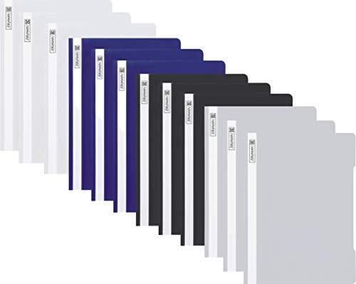 12 Brunnen Schnellhefter A4 farbig sortiert PP-Folie glasklares Deckblatt (Business Edition)