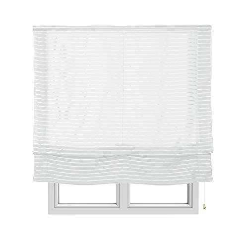 STORESDECO Estor Plegable sin Varillas, Estor paqueto translúcido para Ventanas y Puertas (90 cm x 250 cm, Blanco)