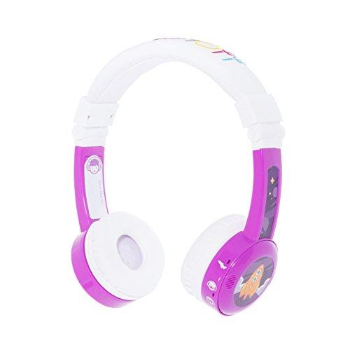 ONANOFF BuddyPhones InFlight, Kinderkopfhörer mit Lautstärkebegrenzung, 3 Lautstärkemodi: 75 dB, 85 dB und 94 dB Reisemodus, Ideal für Flug, Zug und Autoreisen, Integr. Audio-Sharing-Kabel, Rosa