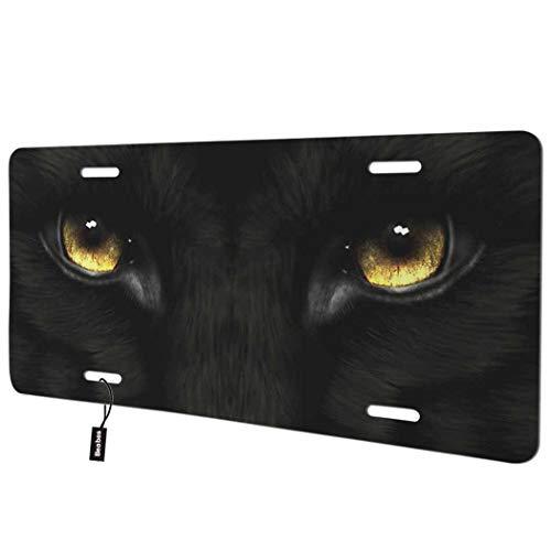 Beabes Black Panther Eyes Front License Plate Cover,Cool Animal with Golden Eyes Decorative License Plates for Car,Aluminum Novelty Auto Car Tag Vanity Plates Gift for Men Women 6x12 Inch