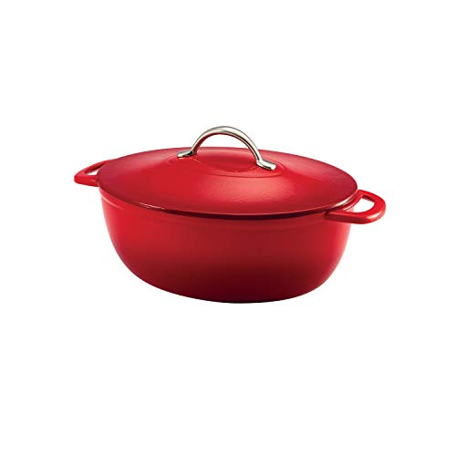 Tramontina Enameled Cast Iron Covered Oval Dutch Oven, 6.5-Quart,Gradated Red (Oval)