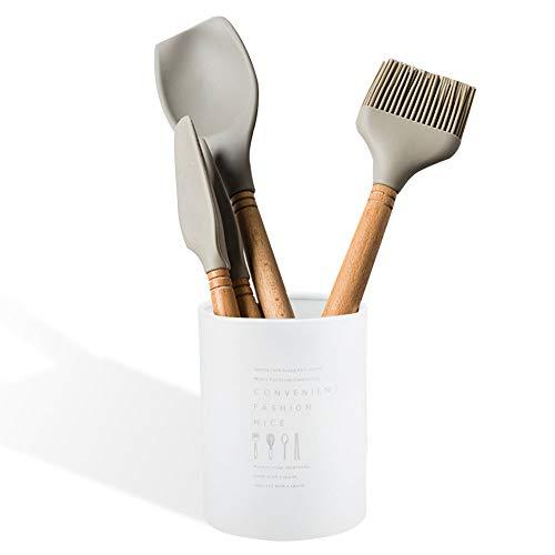 Porta palillos Estante de almacenamiento estilo europeo del norte Tenedor de cuchara Cuchara perforada Utensilio de cocina Organizador 3.94 * 5.12in(Blanco)
