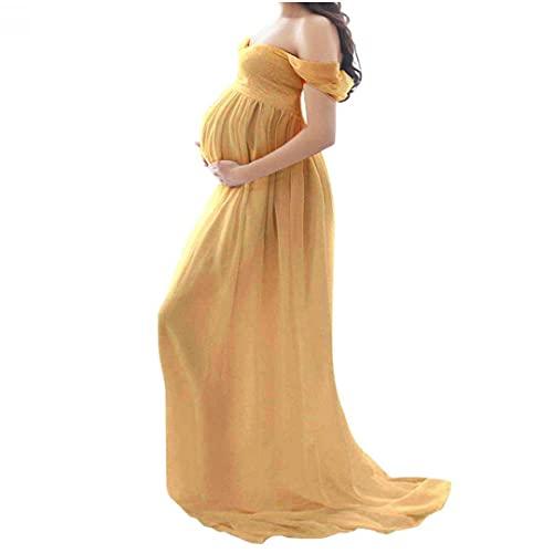 abito donna giallo Abito di maternità Elegante Abito in Chiffon Maxi Gravidanza Vestito per Oggetti di Protezione da Fotografia Giallo l